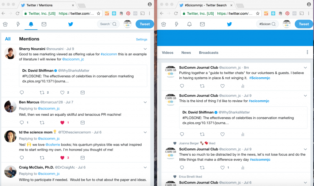 Using multiple browser windows on Twitter to keep up with Twitter chats