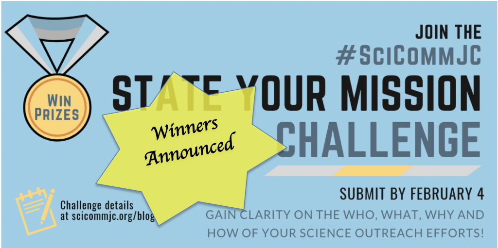 Announcement of winners for the State Your Mission Challenge.