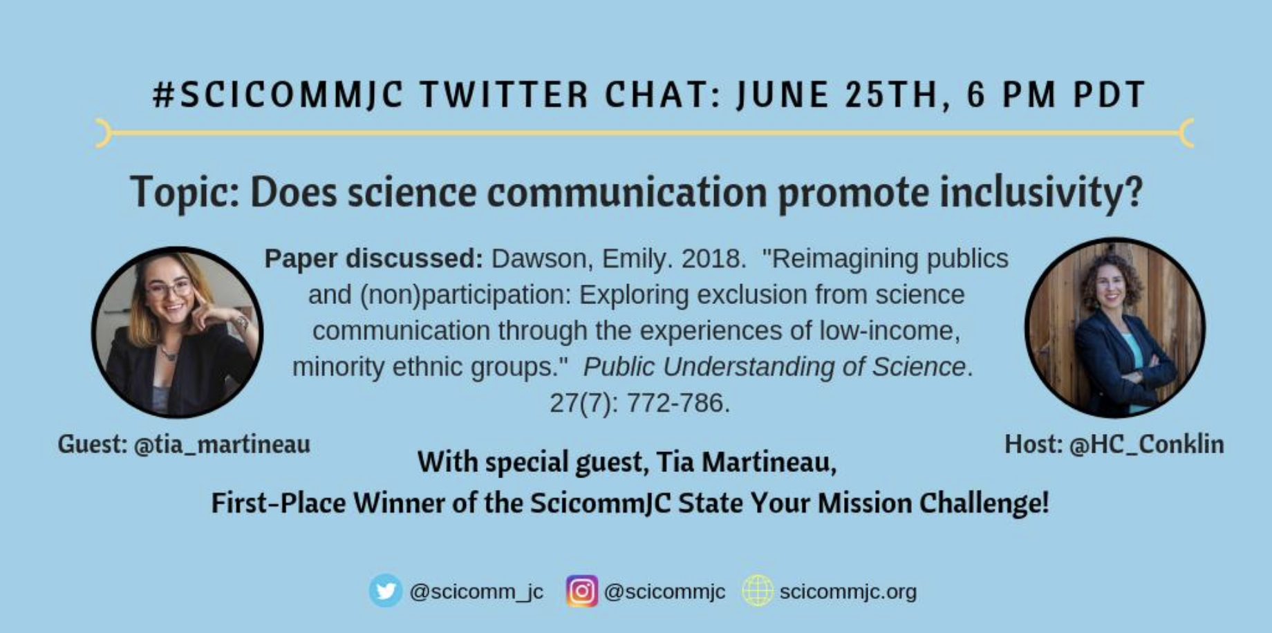 Poster announcing Twitter chat where inclusivity in science communication is discussed